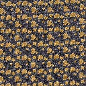 Morris Earthly Paradise - Half Yard- Moda Fabric Dark Blue Yellow Carnation Flowers 1810 Reproduction Fabric William Morris Fabric 8336 11