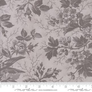 Quill Fabric - Moda Fabric - Half Yard - Floral Bird Toile Feather Light Gray Purple Birds Flowers 3 Sisters Large Scale Print 44151 22