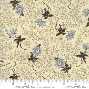Rachel Remembered Fabric - Moda Fabric - Half Yard - Betsy Chutchian Sweet Cream White Blue Reproduction Peony Civil War Fabric 31542 13