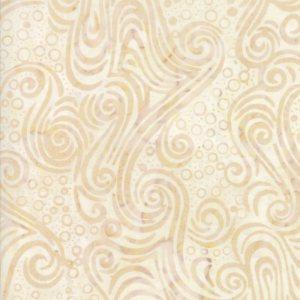 Salsa Batik Fabric - Moda Fabric - Half Yard - White and Tan Swirls Print Hand Dyed Batik Quilt Fabric 4345 40