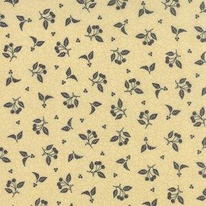 Sturbridge - Moda Fabric - Half Yard - Floral Stitchery Cherries Cream Off White Tan with Black Fruit - Kathy Schmitz Quilt Fabric 607414