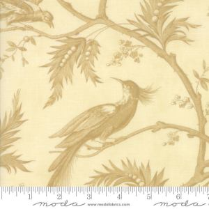 Sweet Cherry Wine Fabric Moda Fabric - Half Yard - Reproduction Fabric Floral Birds Branches Cream White with Tan Blackbird Designs 2781 11