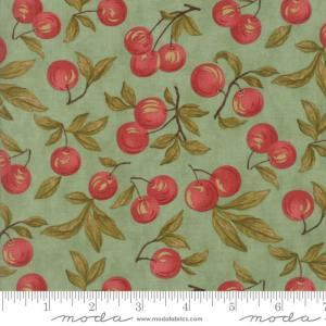 Sweet Cherry Wine Fabric - Moda Fabric - Half Yard - Reproduction Fabric Red Cherries on Aqua Blue Blackbird Designs Cherry Fabric 2780 13