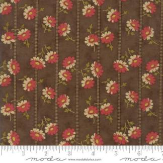 Sweet Cherry Wine Fabric - Moda Fabric - Half Yard - Striped Floral Brown with Tan Stripes Red Flowers Blackbird Designs Fabric 2784 17