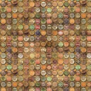 Top Shop - Half Yard - Eclectic Elements - Tim Holtz - Bottle Caps Soda Pop Old Fashioned Vintage Designer Quilting Fabric PWTH024.MULTI