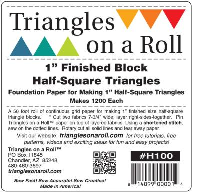 """Triangles on a Roll Paper 1 inch - 1"""" Finished Block Half Square Triangles - Makes 1200 - 50 foot roll"""