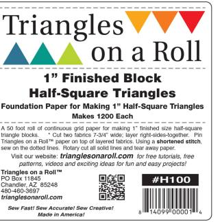"Triangles on a Roll Paper 1 inch - 1"" Finished Block Half Square Triangles - Makes 1200 - 50 foot roll"