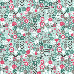 Turquoise Floral Flowers Fabric - Half Yard - White, Pink, and Gray, Cats Collection by The Henley Studio Makower UK Quilt Fabric TP-1455-T