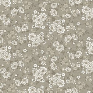 VINTAGE Fabric - Half Yard - Taupe and Gray Grey with Cream Off White Small Scale Floral Pattern Flower Fabric by Andover  OOP HTF TP1445V