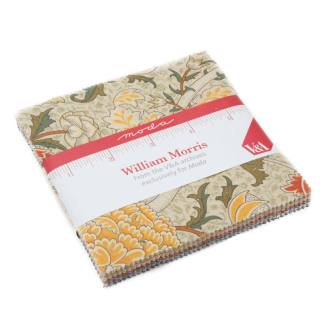 William Morris 2017 Fabric Collection - Charm Pack - Moda Fabric - V & A Reproduction Fabric Floral Flowers Collection - 5 inch squares