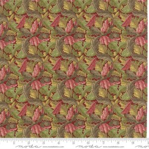 William Morris 2017 Fabric - Half Yard - Moda Reproduction Fabric Acanthus Leaves 1875 Garnet Red Green Victoria & Albert Museum 7304 14