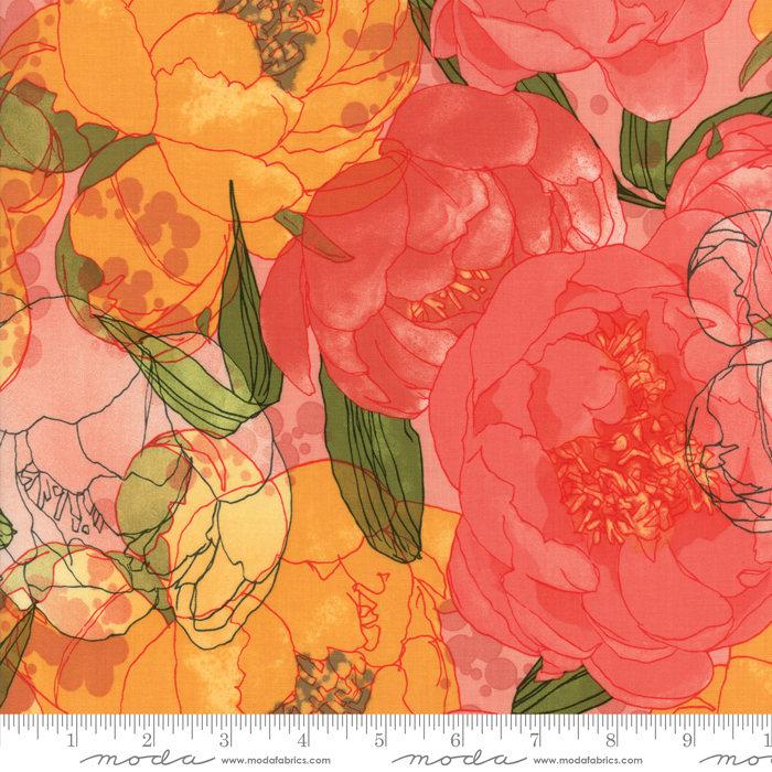 Blushing Peonies Fabric – Half Yard – Robin Pickens Fabric Large Scale Peonies Petal Salmon Pink