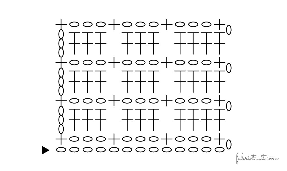 Pontos de Crochet - Ponto Tijolo 3   ponto tijolo
