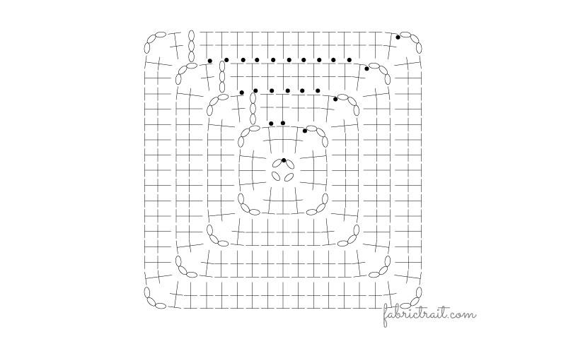 Pontos de Crochet - Quadrado da Avó Preenchido 1 | quadrado de croche