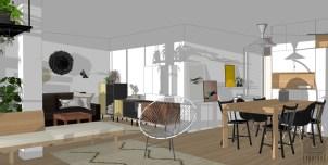Agencement séjour // Conception d'une entrée en retrait // Espace Salle à manger // Salon TV // Salon jardin d'hiver // Appartement BOULOGNE-BILLANCOURT
