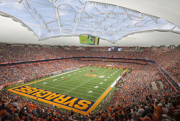 Carrier Dome renovation ETFE tensile membrane roof