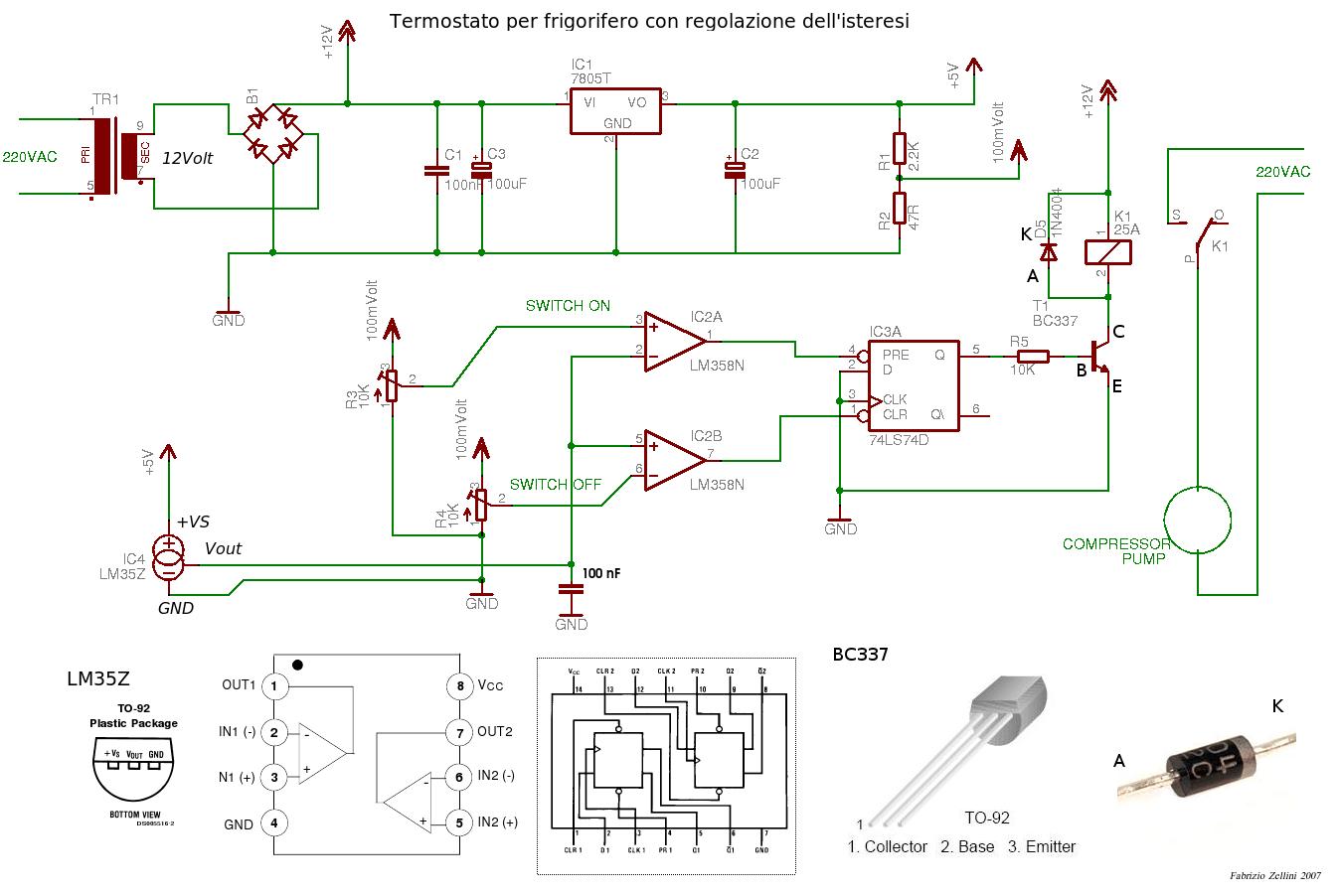 Un termostato per frigorifero con regolazione dellisteresi