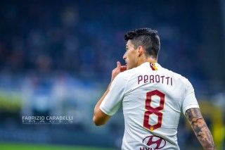 Diego Perotti of AS Roma during the Serie A match between FC Internazionale and AS Roma at the San Siro Satdium, Milan, Italy on 06 December 2019. Photo Fabrizio Carabelli