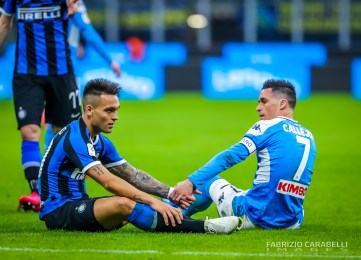 Lautaro Martínez of FC Internazionale and Jose Callejon of SSC Napoli during the Coppa Italia 2019/20 match between FC Internazionale vs SSC Napoli at the San Siro Stadium, Milan, Italy on February 12, 2020 - Photo Fabrizio Carabelli