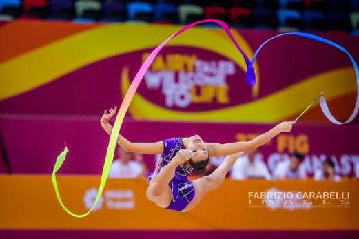 Baku, Azerbaijan - 09/19/2019: FIG Rhythmic Gymnastics World Championships 2019 Baku (AZE) - Griskenas (USA)