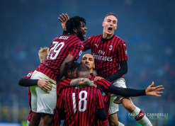 Zlatan Ibrahimovic of AC Milan celebrates with his teammates during the Serie A match between FC Internazionale and AC Milan at the San Siro Stadium, Milan, Italy on 09 February 2020 - Photo Fabrizio Carabelli