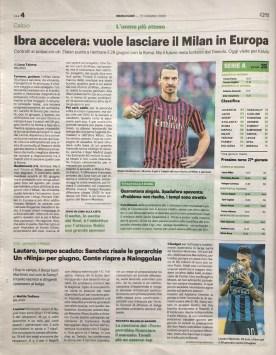 Pubbl. 17_06_2020 IL GIORNO Ibrahimovic e Lautaro