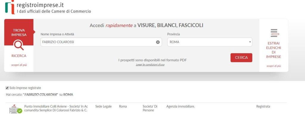 Questa è la cattura della visura fatta a  mio nome presso il sito del registro imprese della camera di commercio di Roma. Questo significa che sono un Agente Immobiliare Abilitato