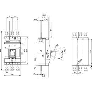 Blok wyłącznika mocy 1000A 3-biegunowy 65kA stacjonarny do