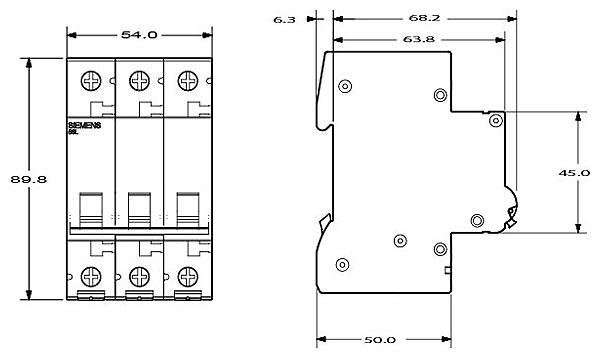 Wyłącznik nadprądowy 3-biegunowy charakterystyka C 32A 6kA