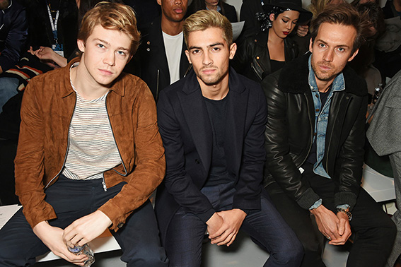 LONDON, ENGLAND - JANUARY 07: (L to R) Joe Alwyn, Joey London and Andrew Cooper attend the Oliver Spencer AW17 Catwalk Show during London Fashion Week Men's January 2017 at the BFC Show Space on January 7, 2017 in London, England. Pic Credit: Dave Benett