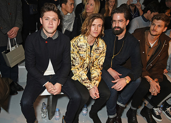 LONDON, ENGLAND - JANUARY 07: (L to R) Niall Horan, Dougie Poynter, Jack Guinness and Jim Chapman attend the Oliver Spencer AW17 Catwalk Show during London Fashion Week Men's January 2017 at the BFC Show Space on January 7, 2017 in London, England. Pic Credit: Dave Benett