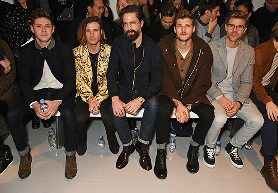 LONDON, ENGLAND - JANUARY 07: (L to R) Niall Horan, Dougie Poynter, Jack Guinness, Jim Chapman and Darren Kennedy attend the Oliver Spencer AW17 Catwalk Show during London Fashion Week Men's January 2017 at the BFC Show Space on January 7, 2017 in London, England. Pic Credit: Dave Benett