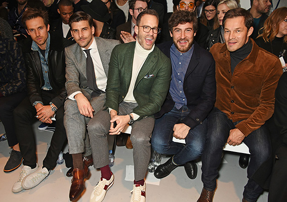 LONDON, ENGLAND - JANUARY 07: (L to R) Andrew Cooper, Johannes Huebl, Andrew Weitz, Robert Konjic and Paul Sculfor attend the Oliver Spencer AW17 Catwalk Show during London Fashion Week Men's January 2017 at the BFC Show Space on January 7, 2017 in London, England. Pic Credit: Dave Benett