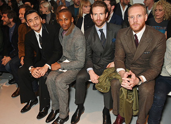 LONDON, ENGLAND - JANUARY 07: (L to R) Robert Konjic, Paul Sculfor, Hu Bing, Eric Underwood, Craig McGinlay and Joe Ottaway attend the Oliver Spencer AW17 Catwalk Show during London Fashion Week Men's January 2017 at the BFC Show Space on January 7, 2017 in London, England. Pic Credit: Dave Benett