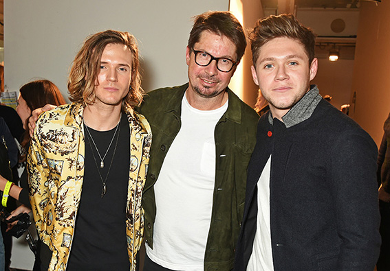 LONDON, ENGLAND - JANUARY 07: (L to R) Dougie Poynter, Oliver Spencer and Niall Horan attend the Oliver Spencer AW17 Catwalk Show during London Fashion Week Men's January 2017 at the BFC Show Space on January 7, 2017 in London, England. Pic Credit: Dave Benett