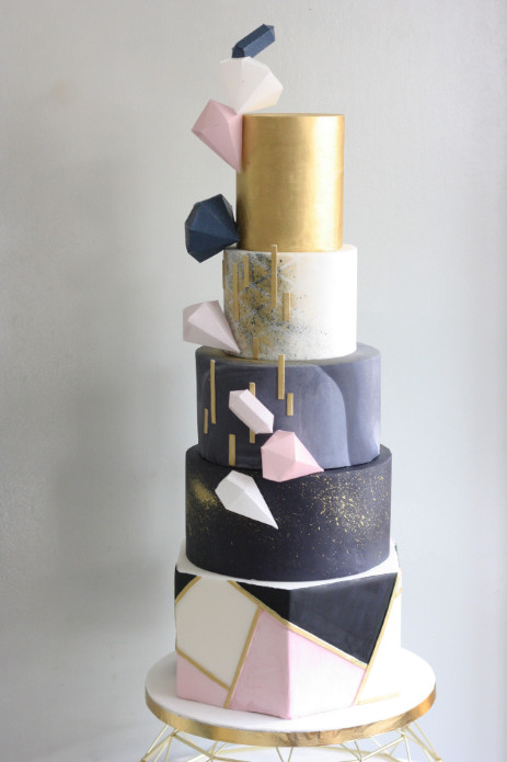 Pink Navy And Gold Geometric Wedding Cake