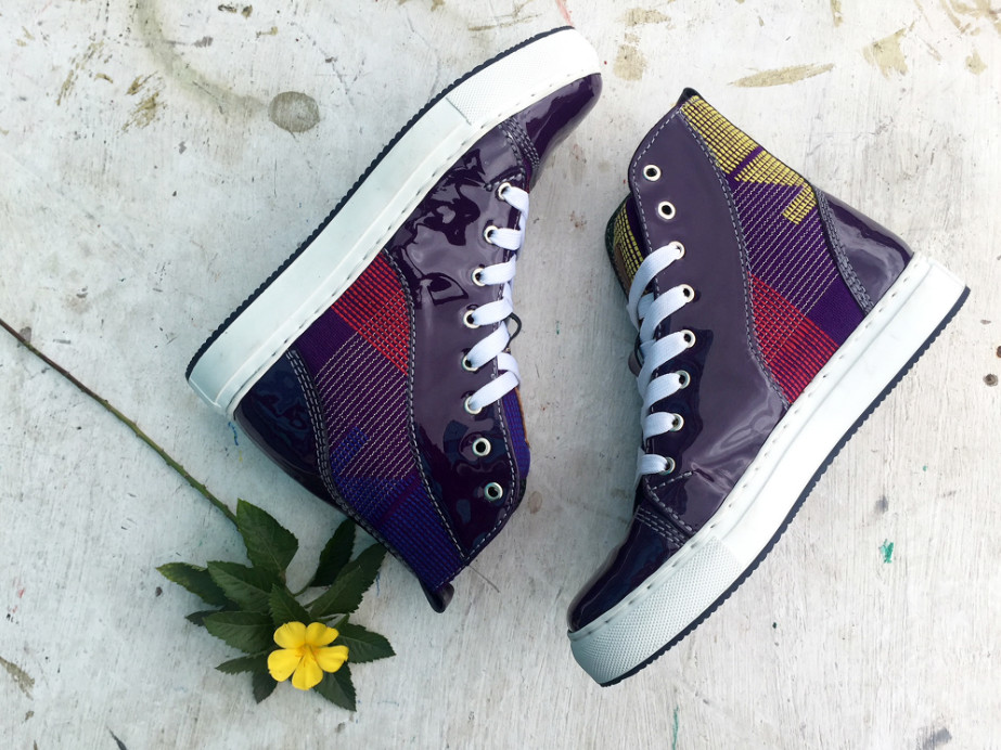 Ethnik purple hibiscus hightop sneakers