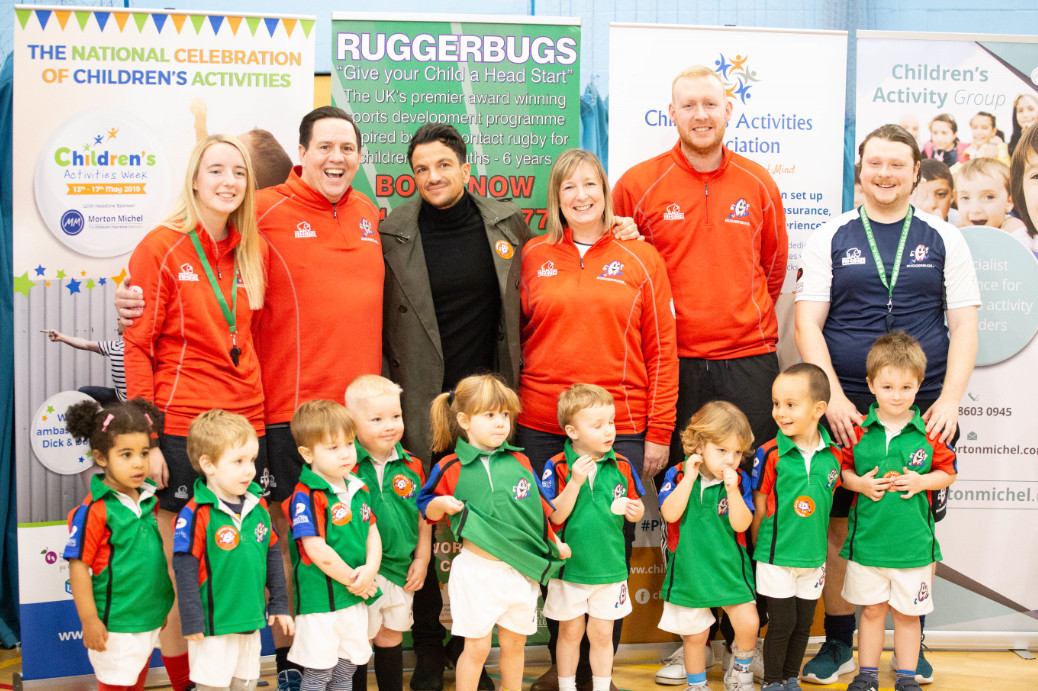 Peter andre visits ruggerbugs for charity event