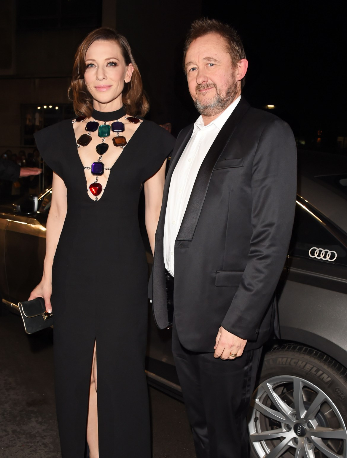 Cate blanchett & andrew upton arrive in an audi at the ee british academy film awards at the royal albert hall, london, sunday 10 february 2019