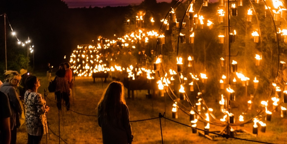 Fire garden by pa boom at timber festival credit andrew allcock