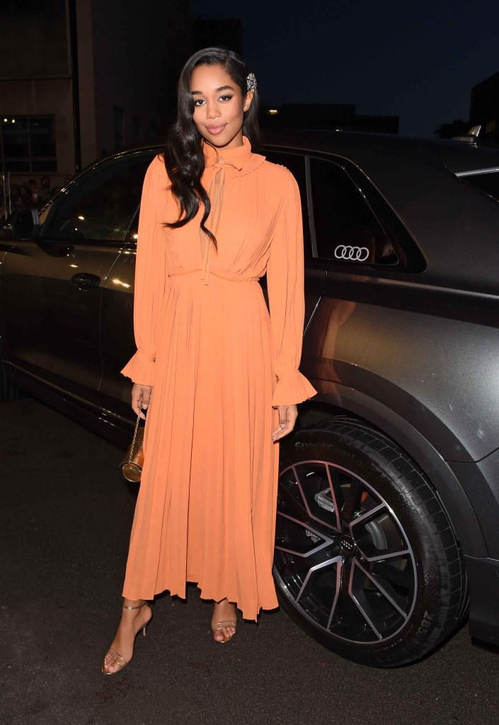 Laura harrier arrives in an audi at the ee british academy film awards at the royal albert hall, london, sunday 10 february 2019 (2)