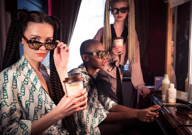 Models wearing victor wong sunglasses drinking joyoung soya milk, london fashion week, 2019