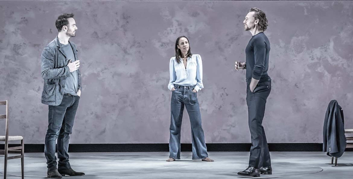 Charlie cox (jerry), zawe ashton (emma) and tom hiddleston (robert) in 'betrayal' directed by jamie lloyd. photo credit marc brenner