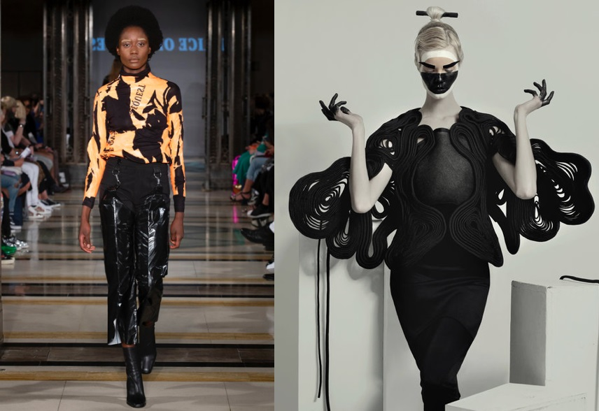 Left image designer price on request, fashion scout see winners 2018, right image neo design winners for fashion scout see 2017.