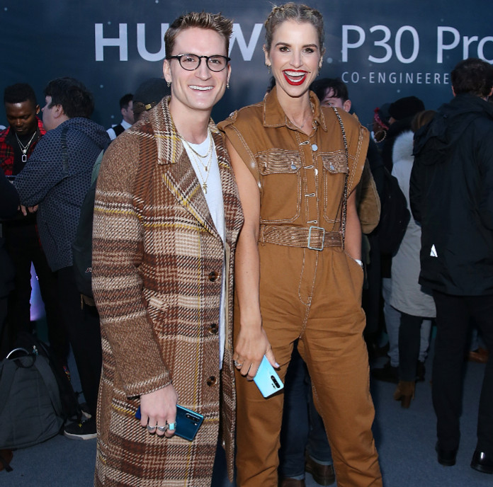 Oliver proudlock and vogue williams attend huawei p30 pro launch northern lights at tower of london[4][7]