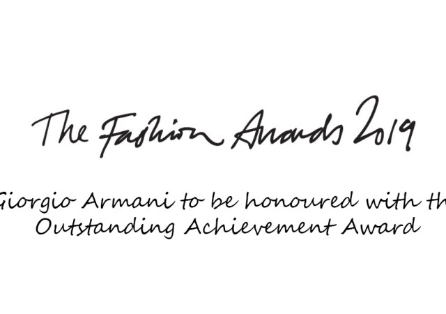 Giorgio armani achievement award at the fashion awards 2019