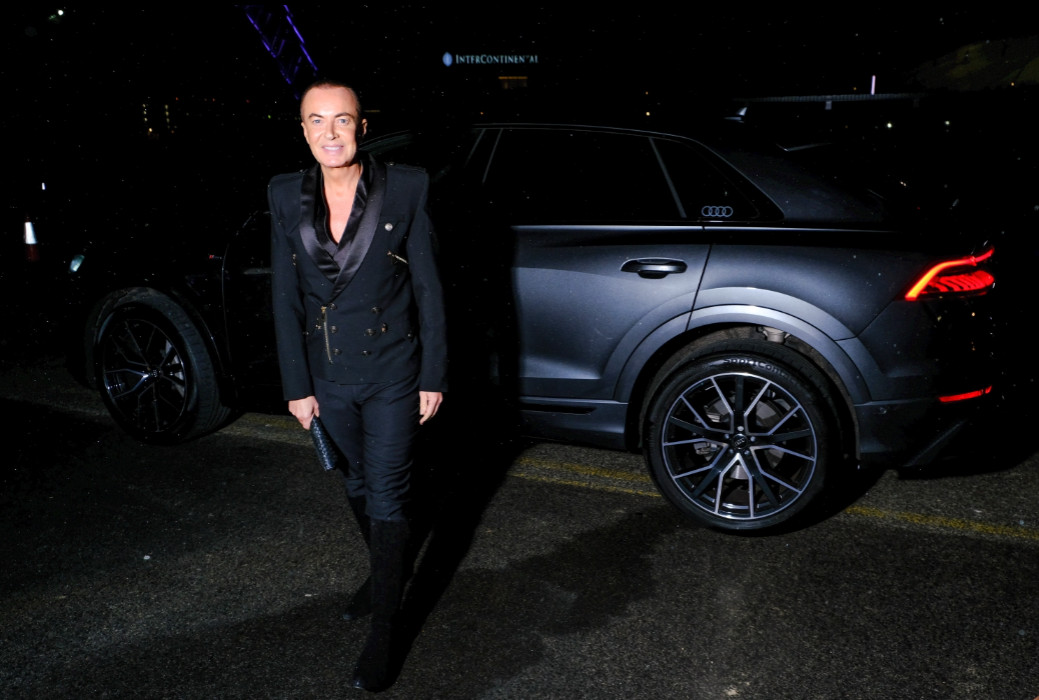 Julien macdonald arrives in an audi at the gay times honours 500 at magazine london on thursday 21 november 2019