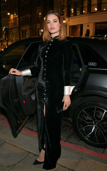 Lily james arrives in an audi at the british independent film awards at old billingsgate, london, on sunday 01 december 2019