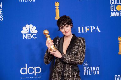 Phoebe Waller-Bridge poses backstage in the press room with the Golden Globe Award at the 77th Annual Golden Globe Awards