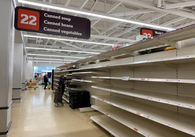 Empty shelves in uk supermarket covid 19